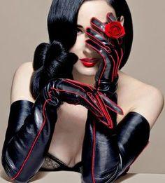 Dita Von Teese Red Accent Leather Gloves 48