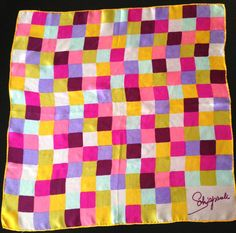 Vintage Schiaparelli Silk Scarf Color Block Multi Colored 1960s Pink Yellow Purple White by LipstickLounge on Etsy https://www.etsy.com/listing/221204287/vintage-schiaparelli-silk-scarf-color