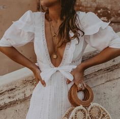 """collagevintage: """"Love this cute white dress and my summery accessories ❤️🥀 """" Style Couture, Haute Couture Fashion, Look Fashion, Fashion Details, Womens Fashion, Girl Fashion, Fashion Ideas, Fashion Shoes, Fashion Dresses"""