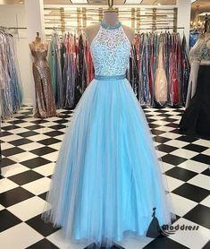 Blue Long Prom Dress Halter Lace Tulle Evening Dress Formal Dress,HS457 #fashion#promdress#eveningdress#promgowns#cocktaildress