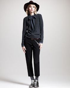 -4L53 Brunello Cucinelli Crewneck Elbow-Patch Sweater, Neck-Tie Blouse, Cropped Brushed Pants, Wide-Brim Hat & Leather Chain Belt