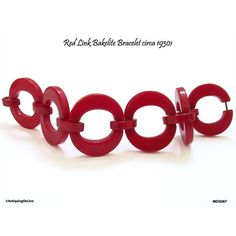 Red Link Bakelite Bracelet Art Deco 1930s Bracelet Oval Links Cherry... ($315) ❤ liked on Polyvore featuring jewelry, bracelets, red bangles, art deco-inspired jewelry, art deco jewelry, red jewellery and red jewelry