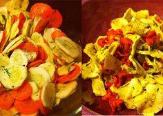 "Carrot & Parsnip ""Chips"" Ingredients: 4 large parsnips 4 large carrots juice of 1 lemon chopped dill, to taste sea salt & black pepper Raw Dessert Recipes, Raw Food Recipes, Mexican Food Recipes, Appetizer Recipes, Healthy Recipes, Freezer Recipes, Freezer Cooking, Drink Recipes, Jar Recipes"