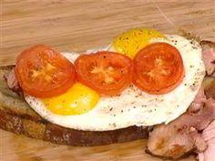 Bobby Flay's open faced fried egg sandwich