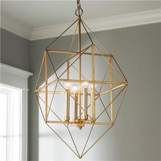 Geometric Gold and Silver Leaf Lantern - Small