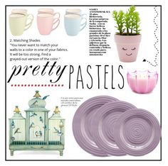 """""""Pretty pastels"""" by elisabetta-negro ❤ liked on Polyvore featuring interior, interiors, interior design, home, home decor, interior decorating, New Look, Portmeirion, D.L. & Co. and pasteldecor"""