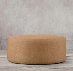 "36"" Cooper Round Ottoman Round Leather Ottoman, Round Ottoman, Ottoman In Living Room, Home Furnishings, Interior, Modern, Basement, Flora, Furniture"