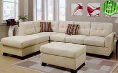 3 pc Alisha collection sand rayon with bamboo fiber fabric upholstered sectional sofa set with reversible chaise
