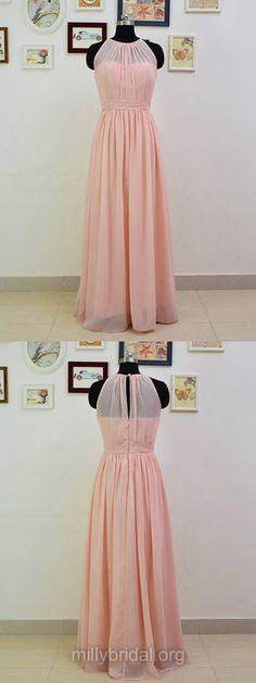Pink Bridesmaid Dress,Chiffon Graceful Ruffles Long Bridesmaid Dresses, Scoop Neck Bridesmaid Dresses