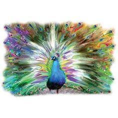 Gorgeous Pastel PEACOCK Art New Oversize Canvas Tote Bag L@@K Free Shipping USA