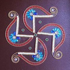 Swastik Shape Kundan Rangoli Red - Online Shopping for Decoratives by Dipti Art & Craft