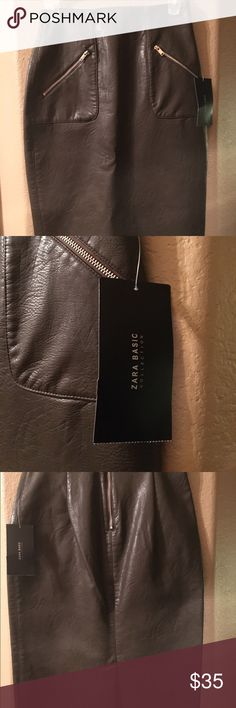 Zara Leather Pencil Skirt Olive green. Front zipper embellishment with zipper closure in the back. Last picture shows length. Zara Skirts Pencil