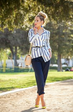 Belting techniques,How to wear Striped Jacket,How to wear stripes,Striped Jacket,bottega veneta belt,Statement earrings with bun,christian louboutin pigalle follies,yellow pumps and Cuffed pants,Messy bun with statement earrings, Statement earrings, change jumbo bag,beige chanel bag