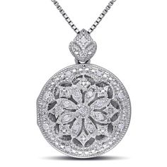 Diamond Accent Vintage-Style Frame Flower Locket in Sterling Silver - Peoples Jewellers