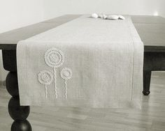 Natural linen table runner decorated with handmade by daiktuteka, $37.00
