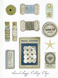 Sewing kit Collage Clip art to borrow - artist Sarah Lugg shared images