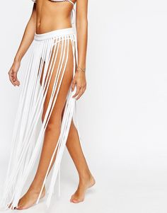 Image 4 of ASOS Jersey Fringed Maxi Beach Skirt