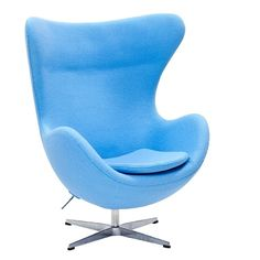 Modern light blue fabric lounge Chair inspired by Arne Jacobsen Egg chair Pink Desk Chair, Egg Chair, Sofa Chair, Desk Chairs, Office Chairs, Lounge Chairs, Swivel Chair, Chair Cushions, Industrial Dining Chairs