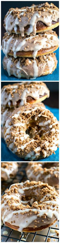 Cinnamon Bun Baked Donuts - Moist and fluffy cinnamon bun donuts that covered in cinnamon glaze, cinnamon crumbles, and vanilla frosting.