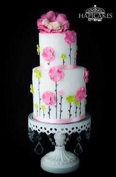 Flower Baby Shower Cake - Cake by Hazel Wong Cake Design - CakesDecor Torta Baby Shower, Cute Cakes, Pretty Cakes, Gorgeous Cakes, Amazing Cakes, Bolo Fack, Super Torte, Baby Girl Cakes, Baby Shower Cake For Girls