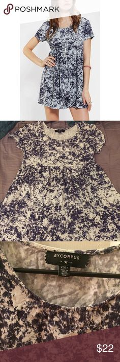 UO acid wash babydoll dress, XS Adorable minidress in graphic acid wash print. Size XS, this is a true mini. Looks great with leggings or patterned tights.  Urban Outfitters Dresses Mini