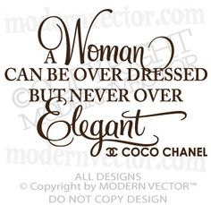 Coco Chanel Quote Vinyl Wall Decal Lettering NEVER OVER ELEGANT bedroom decor. $11.30, via Etsy.