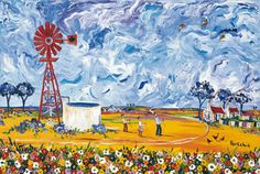 Medium Prints A range of medium sized images, printed in full colour by lithographic process. Windmill Drawing, African Paintings, South African Artists, Simple Acrylic Paintings, Decoupage Paper, Pretty Pictures, Pretty Pics, Blue Art, Border Design