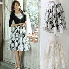 Summer Spring 2014 New Fashion Elegant Organza Big Swing Pleated Skirt