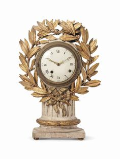 A LOUIS XVI GRAY-PAINTED AND PARCEL-GILT CLOCK  LATE 18TH CENTURY, SUPPLIED BY ALBERT HADLEY