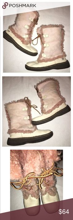 """BORN Filo Pink/Cream Shearling Winter Boots Sz 7 Gently pre-owned BORN """"Filo"""" Shearling winter boots in cream/pink - lace up - can be folded down or worn up - clean, good condition - some wesr to color, could be brushed up with some suede cleaner - size 7 Born Shoes Winter & Rain Boots"""
