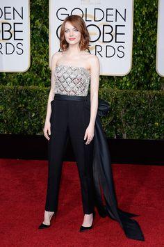 Golden Globes : les looks du tapis rouge: Emma Stone en Lanvin. I Love that look… Vanity Fair, Emma Stone Body, Lanvin, Only Fashion, High Fashion, Emma Stone Red Carpet, Info People, Actress Emma Stone, Jessica Parker