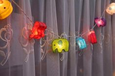 handmade garlands and string lights for interior decorating