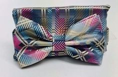 Stacy Adams Bow Tie & Hanky Set Fushia Teal Champagne Black for Men Microfiber #StacyAdams #BowTie