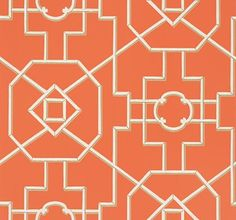 Bamboo Lattice Coral by Thibaut - Coral - Wallpaper : Wallpaper Direct