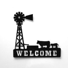 Windmill and Cattle  Around Stock Tank Welcome Metal Sign