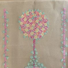 Trammed needlepoint tapestry kit with wool - vintage rose topiary kit suitable for picture or large cushion cover - preworked canvas by KindredClassics on Etsy Tapestry Kits, Tapestry Wall Hanging, Large Cushion Covers, Border Pattern, Needlepoint Kits, Gifts For Mum, Vintage Roses, Pastel Colors, Cotton Canvas