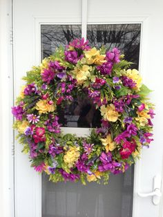 Spring Wreath with Wisteria & Yellow Hydrangea