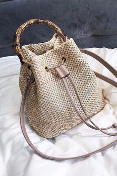 Messenger Bags Women Beach Bamboo Bracelet Straw Burlap Square Beach Drawstring Straw Bag Burlap Messenger Bag Dropship May10-In Top-Handle Bags