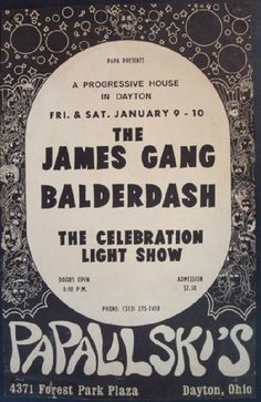 James Gang Posters | Details about JAMES GANG DAYTON OHIO 1970 CONCERT POSTER JOE WALSH ...