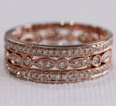 3 RINGSET Rose Gold Ring Rose Gold Wedding Ring Diamond by EasyGem, $598.00