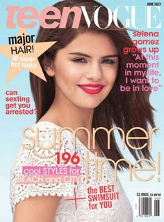 Crochet is hot this season. Celebrities from around the world are sporting clothing and accessories made from crochet. Magazine covers are featuring models and stars in crochet. And the teen magazines are no exception. As you can see from the photo above the June / July issue of Teen Vogue is covered in a crochet top worn by Selena Gomez.