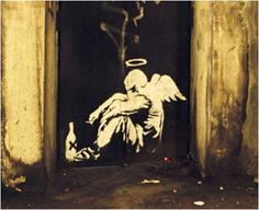 Banksy Drunk Angel Graffiti - London Bridge, London Drunk Angel was first spotted on London Bridge although it has since been painted over. It shows a fallen angel, tied and weary. The bottle suggests alcohol and the angel is also smoking. Banksy seems to be saying that despite his best efforts the angel has failed and ended up turning to substance abuse.