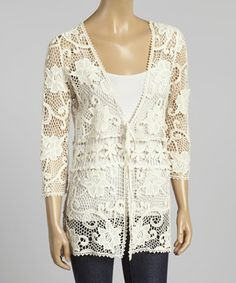Another great find on #zulily! Beige Crocheted Cardigan by Simply Irresistible #zulilyfinds