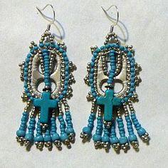 Handmade Christian eargings from soda can pop tops,