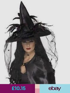 deluxe witch hat womans girl black net feathers fancy dress halloween horror