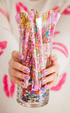 Best Friends For Frosting DIY confetti sticks from straws craft for New Year's Eve