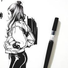 My fav #brushpen #drawing #sketch #doodle #ink #sketchbook #girls #outfit #streetfashion #style #artwork #illustration #comics #그림 #자켓 #pic