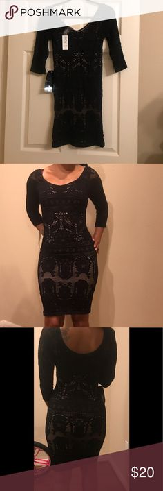 Bebe Lace Bodycon Dress Are you ready to turn heads??? Look no further and purchase this sexy lace black dress.  Show off your knock out curves and paint the town BLACK!! bebe Dresses Mini