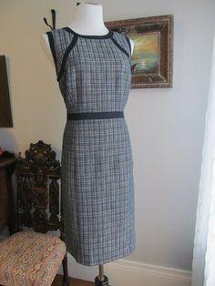TALBOTS Multi-color Plaid Cotton Linen Blend Fully Lined Sheath Dress Size 14 #Talbots #Sheath #WeartoWork