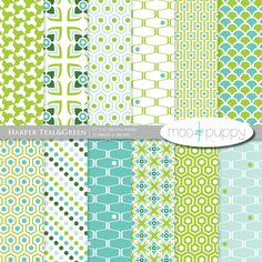 Harper Teal - Digital Scrapbook Paper Pack  -- INSTANT DOWNLOAD. $3.50, via Etsy.